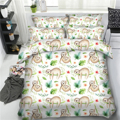 Green Lovely Sloth bedding sets