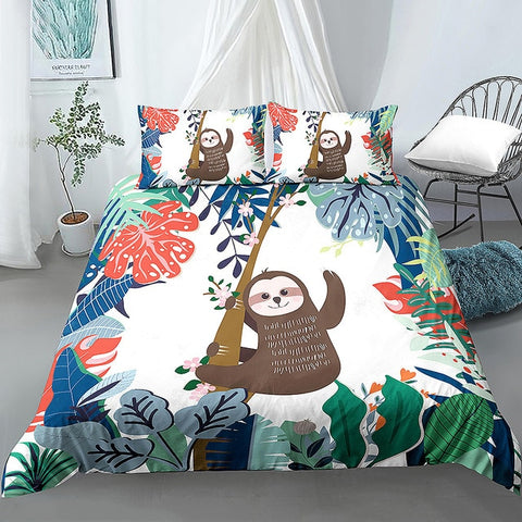 Cheerful Waving Sloth Bedding Set