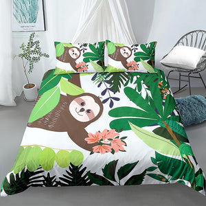 Picking Flower Sloth Bedding Set