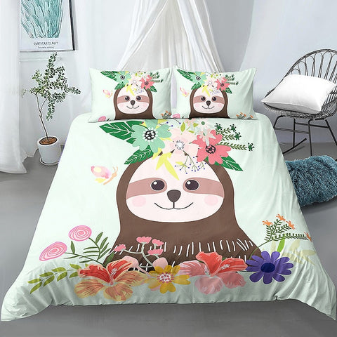 Cute Girly Sloth Bedding Set