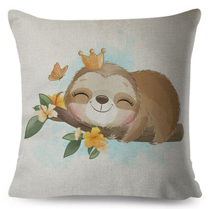 Cute King Sloth Cushion Cover