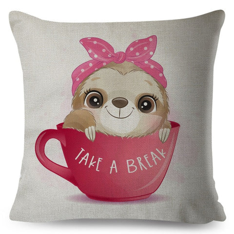 Take A Break Sloth Cushion Cover