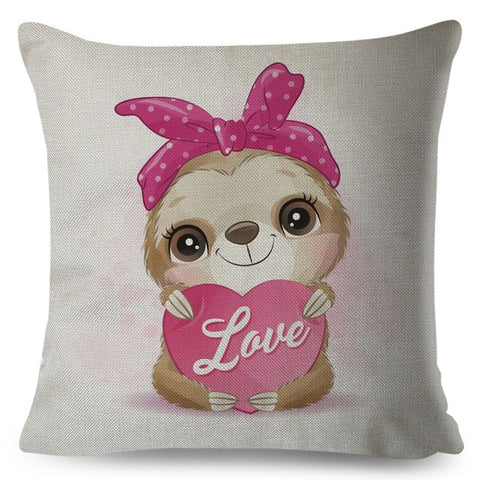 Cute Pink Bandanna Sloth Cushion Cover