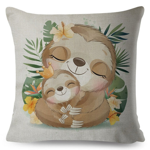 Hugging Mom Baby Sloth Cushion Cover