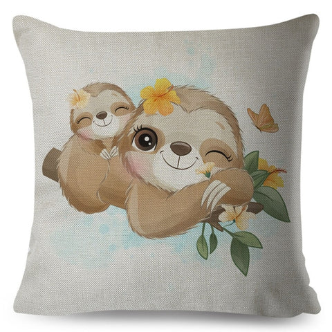 Cute Winking Sloth Cushion Cover