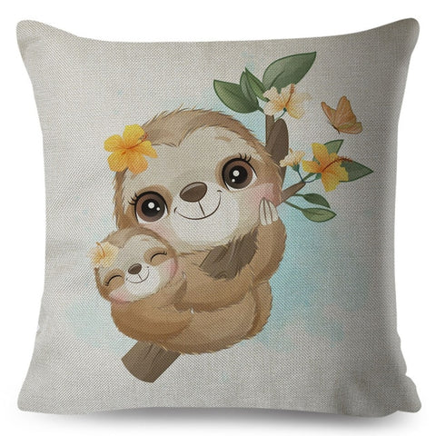 Loving Mom Sloth Cushion Cover