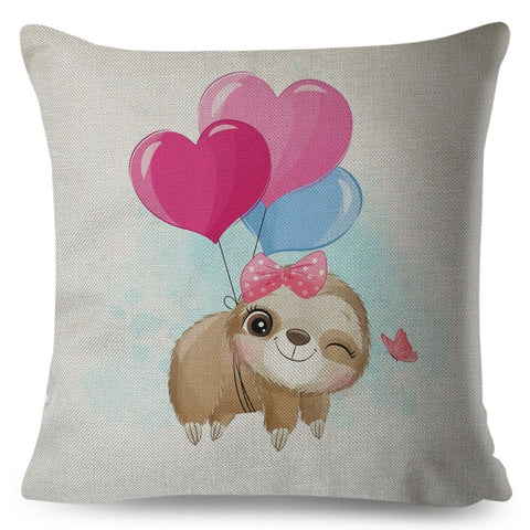 Pink Ribbon Baby Sloth Cushion Cover
