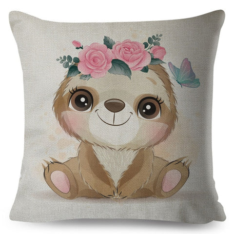 Flower Head Baby Sloth Cushion Cover
