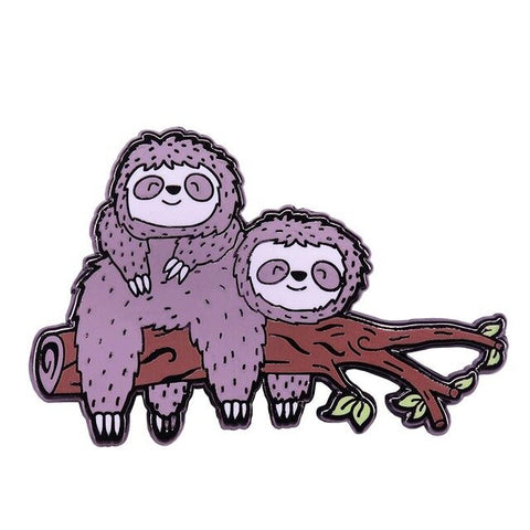 Lovely Couple Sloth Pin Badge