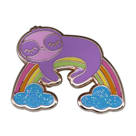 Sleeping Rainbow Sloth Pin Badge