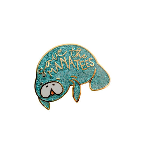 Save The Manatees Sloth Pin Badge