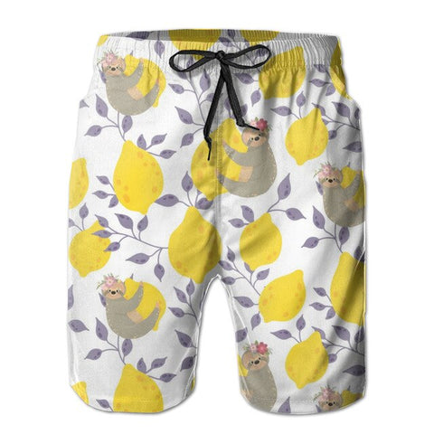 Yellow Lemon Sloth Boardshort
