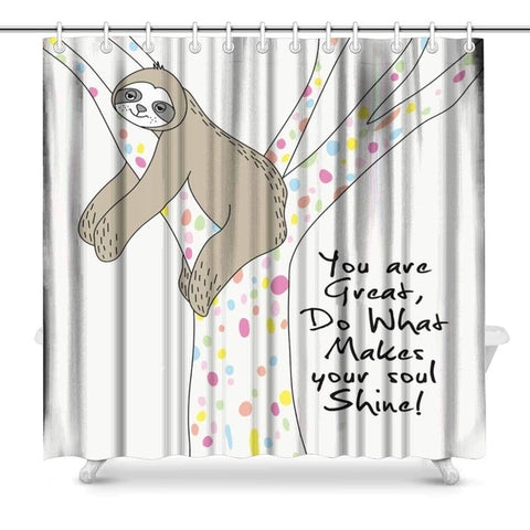 Image of Cute Sloth You are Great Shower Curtain