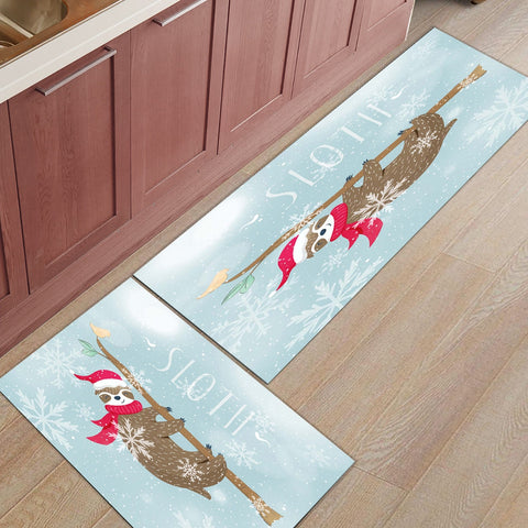 Sloth Hanging Tree Trunk Snow Door Mat Set