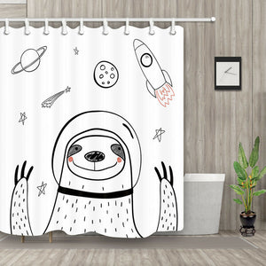 Astronaut Sloth and Rocket Shower Curtain