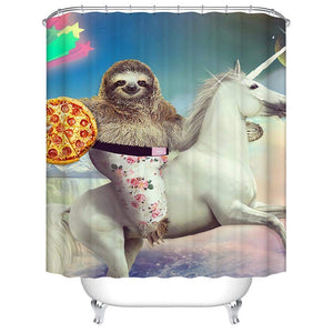 Funny Sloth Riding Horse with Pizza Shower Curtains
