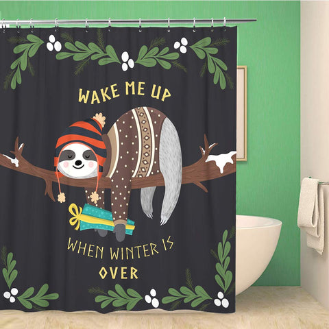 Winter Sloth Shower Curtain