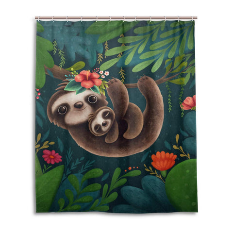 Mom and Baby Sloth Shower Curtain