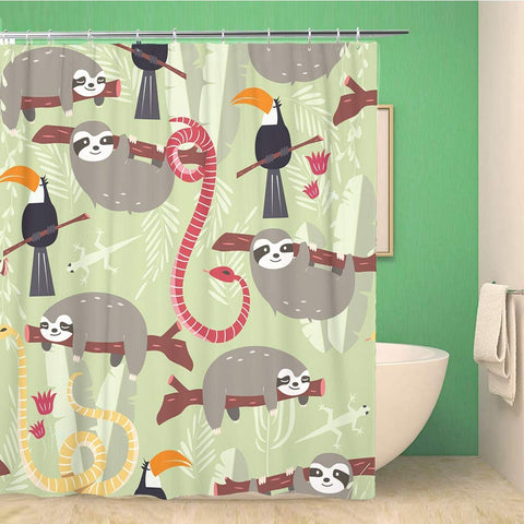 Rain Forest And Sloth Animals Shower Curtain