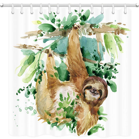 Sloth on Tree Branch Shower Curtain