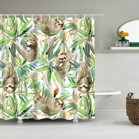 Cute Sloths Hanging on Tree in Forest Shower Curtain