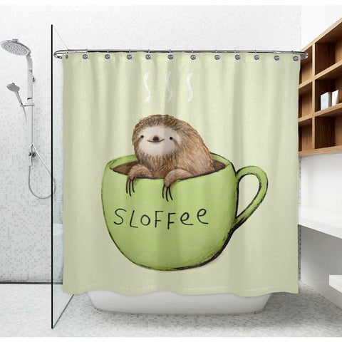 Adorable Sloth and Coffee Shower Curtain