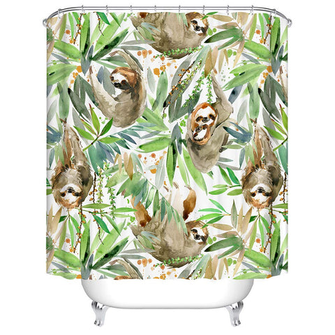 Watercolor Green Leaves Sloth Shower Curtain