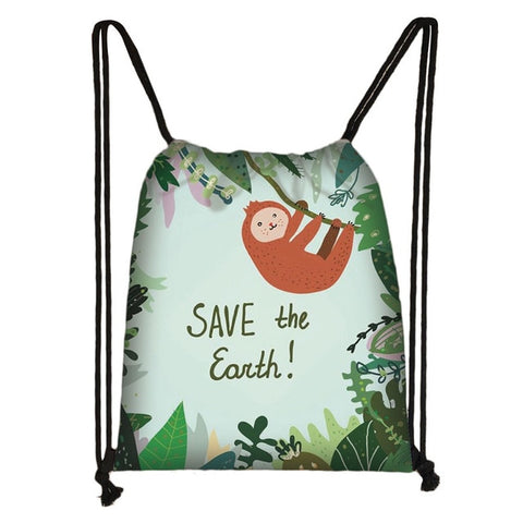Save The Earth Sloth Drawstring Backpack