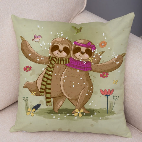 Couple Sloth Dancing Cushion Cover