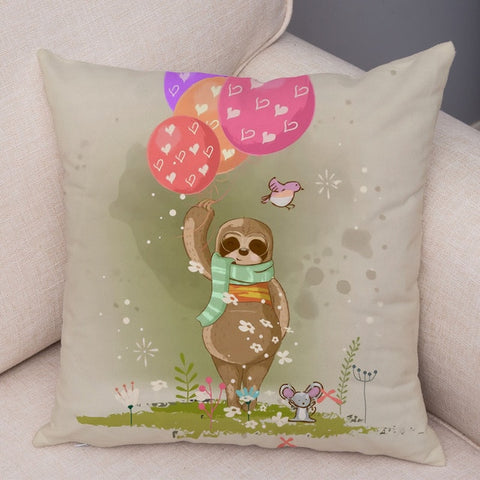 Holding Balloon Sloth Cushion Cover
