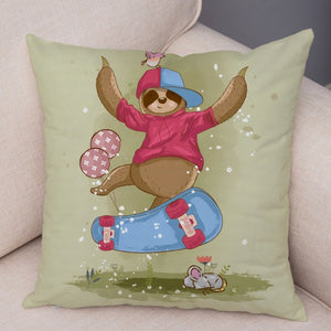 Skateboarder Sloth Cushion Cover