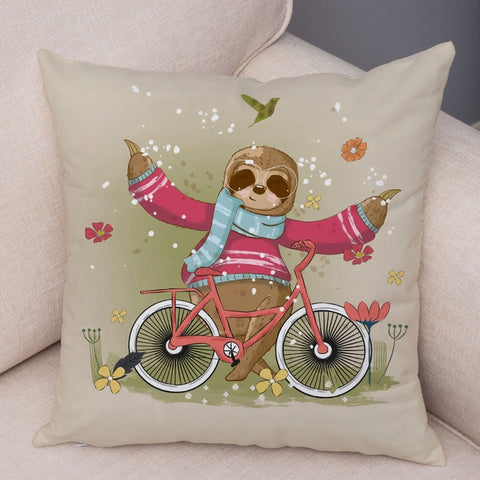 Biking Sloth Cushion Cover