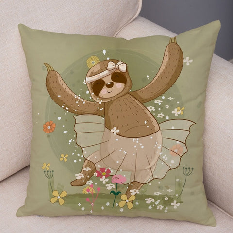 Ballet Dancer Sloth Cushion Cover
