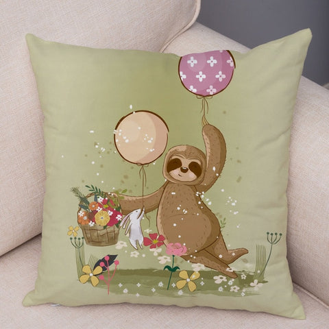 Flower Picking Sloth Cushion Cover