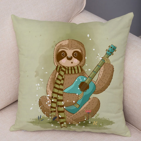Musician Sloth Cushion Cover