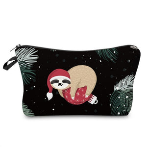 Christmas Ball Sloth Makeup Bag