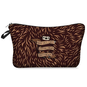 Hairy Brown Sloth Makeup Bag
