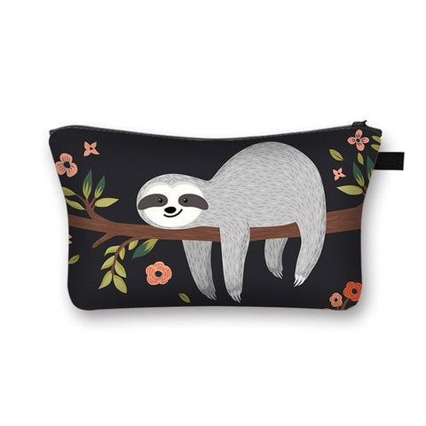 Smiling Lazy Sloth Makeup Bag