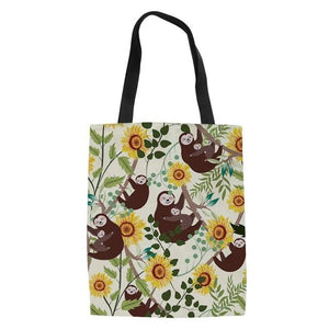 Sunflower Sloth Tote Bag