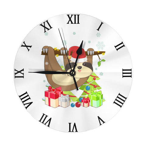Happy Holiday Sloth Wall Clock