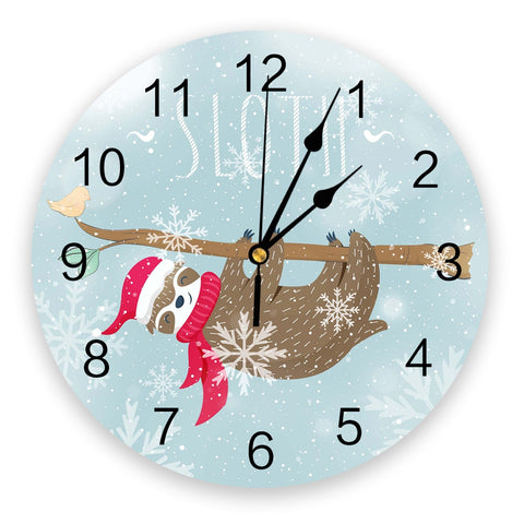 Winter Sloth Wall Clock