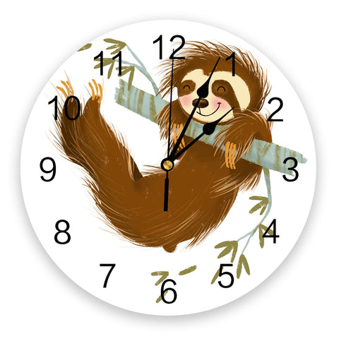Happy Hanging Sloth Wall Clock
