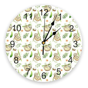 Coconut Sloth Wall Clock