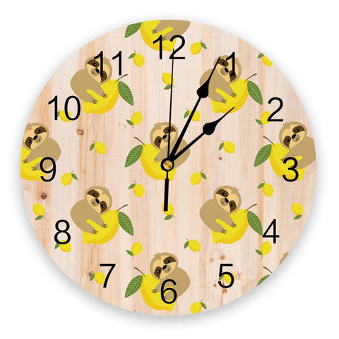 Lemon Sloth Wall Clock