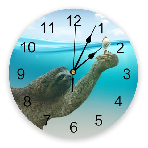 Aqua Sloth Wall Clock