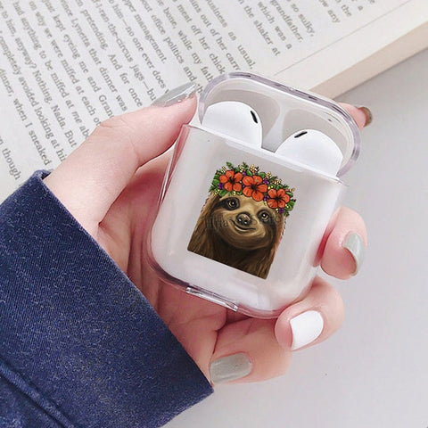 Flower Headdress Sloth Airpods Case