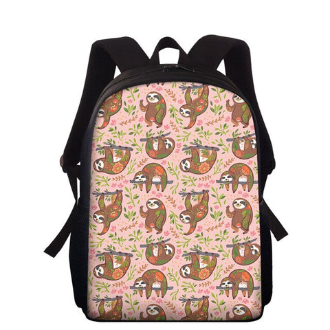 Pink Floral Sloth Travel Backpack