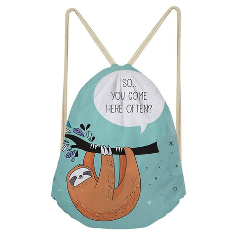 Come Often Sloth Drawstring Backpack