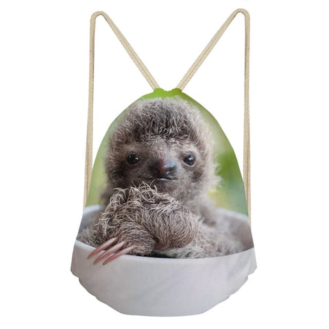 Cup Coffee Sloth Drawstring Backpack