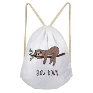 Slow Down Sloth Drawstring Backpack